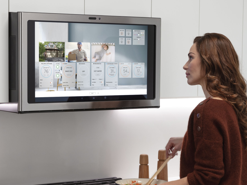 ge is showing a 27 inch voice activated kitchen hub smart screen for above the stove that can walk you through recipes and make video calls